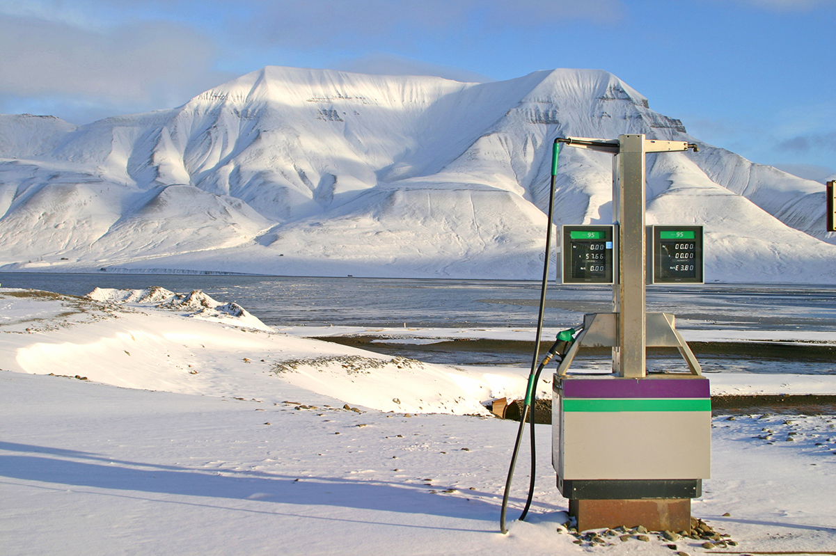 Gas pump in snowy landscape