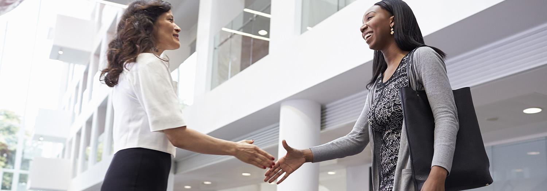 To damer som er i ferd med å ta hverandre i hånda før de skal implementere et standardsystem