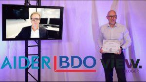 Bilde av skjerm med intervju fra Partnerdagen 2020 med logoer av Xledger Platinum Certified Partner 2021